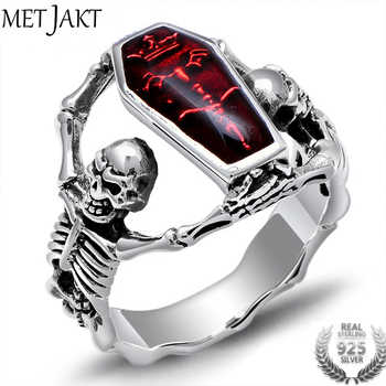 MetJakt Men's Punk Human Bones Skull Ring with Resin Solid 925 Sterling Silver Handmade Halloween Jewelry for Men and Boy - DISCOUNT ITEM  0% OFF All Category