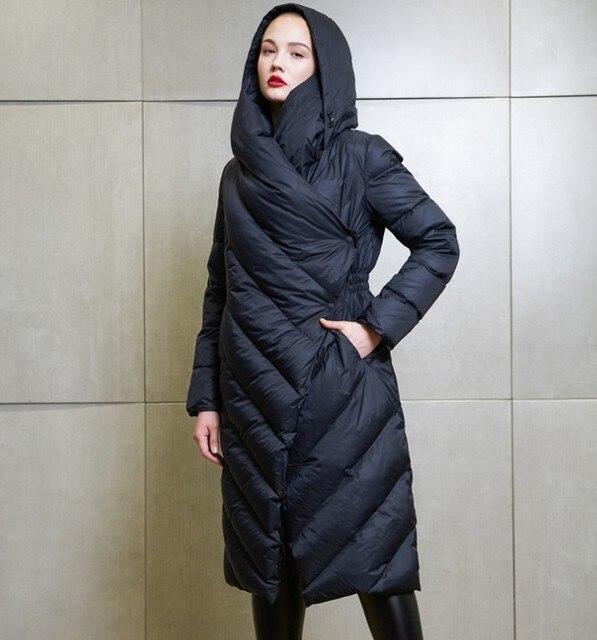 9896df0921a5d Haute Qualité 2018 Hiver Nouvelle Collection Femmes À Capuchon Long Manteau  Femme Hiver Chaud Épais Bas
