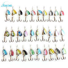 30pcs/lot 3D Eyes Colorful Spinner Baits Fish Hooks Bass Assorted Spoon Metal Fishing Lures Fishing Tackle Box Accessory tool