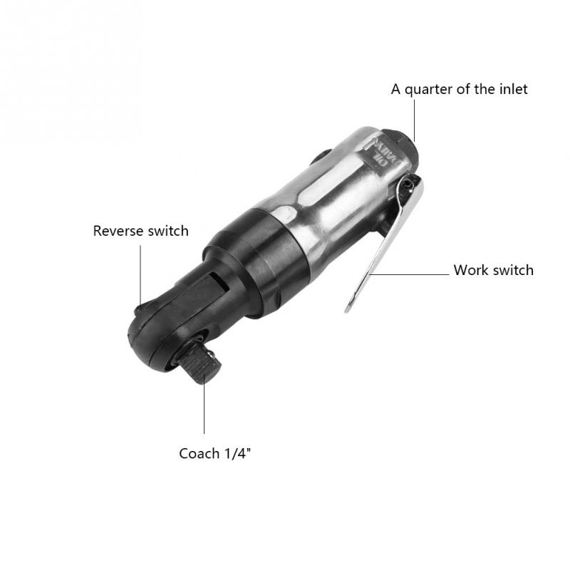 Air Pneumatic Ratchet Wrench Tool Compressor Mechanics 108N.M Torque 1//4inch