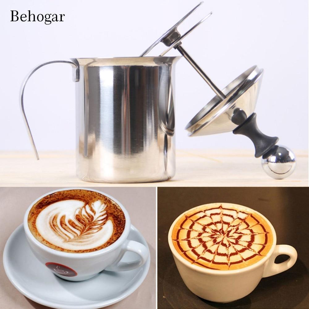 Behogar 400ml Stainless Steel Double Mesh Milk Creamer Foamer Manual Milk Frother w/ Handle for Foam Cappuccino Latte Coffee