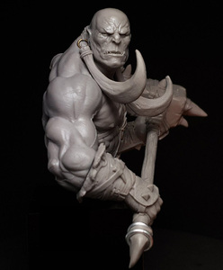 Image 2 - Unpainted Kit 1/10  ancient Orcish with big Axe bust fantasy   Resin Figure miniature garage kit