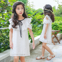2018 New Baby Lace Dress Girls Summer Dress Kids Ruffles Dress Toddler Children Bow Dress 2549