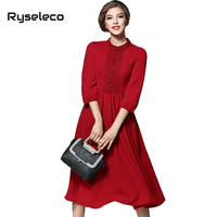 Autumn Winter Women Pure Color Floral Lace Patchwork 3 4 Sleeve Midi Flare Dresses Office Lady