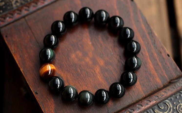 Natural Black Onyx with Tiger Eye Jewelry Bracelet 3