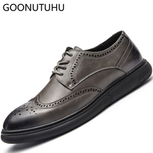 2019 new spring summer fashion men's shoes casual leather comfortable lace up gray black shoe man breathable flat shoes for men