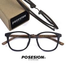 цены на POSESION Eyeglasses Frame Men Women Computer Myopia Optical Vintage Acetate Eye Retro Glasses Spectacle Frame Clear Lens Eyewear в интернет-магазинах