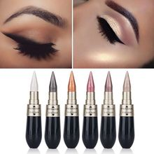 1 Pcs Double-end 2-in-1 Pearly Glimmer Waterproof Eyeshadow Black Eye Liner Pen Quick Dry Women Eye Beauty Makeup Cosmetic(China)