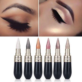 1 Pcs Double-end 2-in-1 Pearly Glimmer Waterproof Eyeshadow Black Eye Liner Pen Quick Dry Women Eye Beauty Makeup Cosmetic