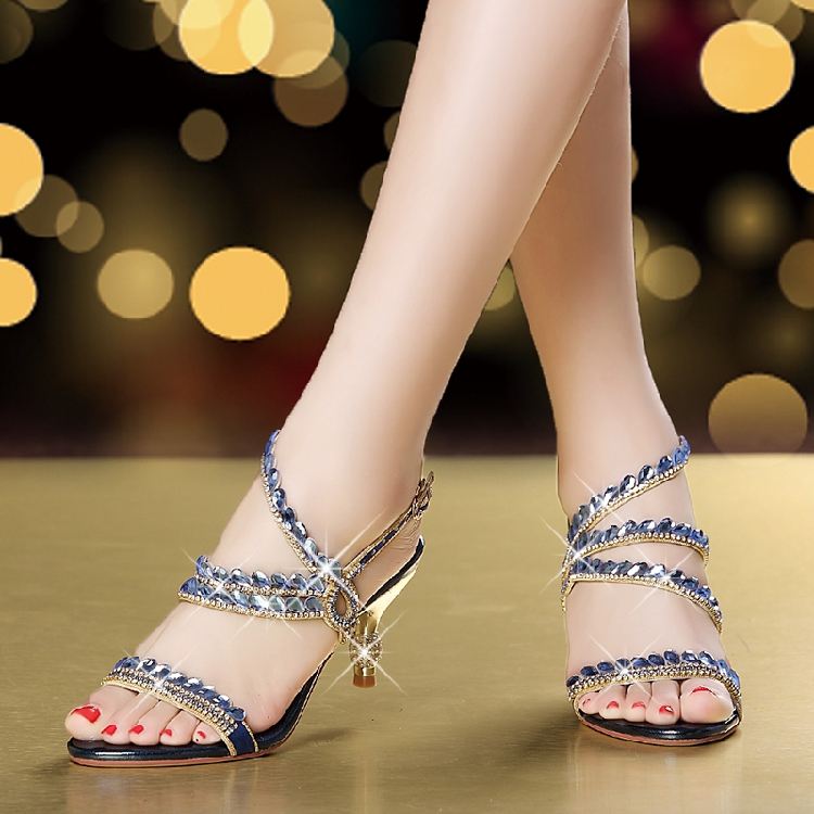 Femmes Talon Mode Fine En Strass Sexy Hot Nouveau silver Avec Femme Chaussures 2018 Cuir Sandales Été Bleu Véritable wqwv78PxZ