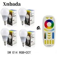 Mi Light 5W Led Lamp RGB+CCT E14 Led bulb+RGBWW Wireless Remote Led Spotlight light Led light AC85 265V Free shipping