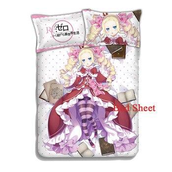 Japan Anime Re:Zero kara Hajimeru Isekai Seikatsu Beatrice 4pcs Soft Bedding Set Duvet Cover Sheet with Pillowcase