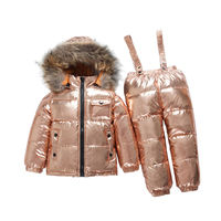 New 2019 Winter Down Children Sets Boys Girs Windproof Waterproof Down Set Kids Ski Set for Girls Jackets Suit Fur Collar 12M 5T