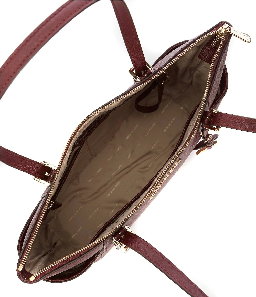 Michael Kors Shoulder Bag Michael Kors Jet Set Large Crossgrain Leather Top Zip Tote (Oxblood/Gold)  Luxury Handbags For Women Bags Designer by MK-in Top-Handle Bags from  Luggage ...
