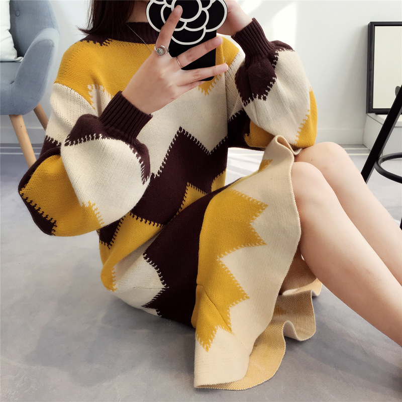 Long Fund Sweater Dress Women Pullover Dress Easy Korean 2018 New Pattern Fashion Tide Autumn And Winter Unlined Upper Garment