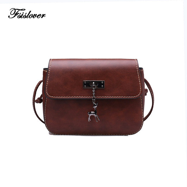 Vintage Deer Small Women Bags PU leather Messenger Bag Clutch Bags Designer  Mini Shoulder Bag Women Handbag bolso mujer purse 3baf7384226ec