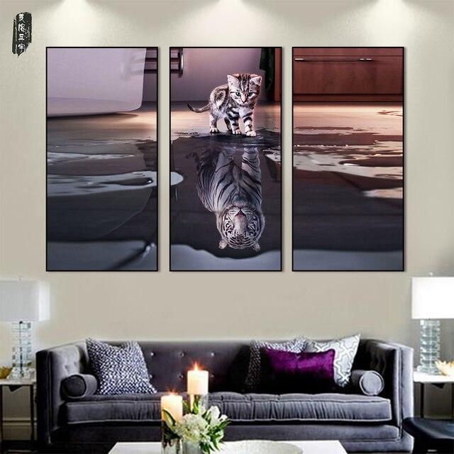 Nette katze wand kunst tiger leinwand malerei tier for Dekorative bilder wohnzimmer