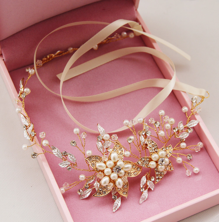 Luxury Ribbon Rhinestone Crystal Pealrs Flower Wedding Headband Hair Vine Bridal Hair accessories