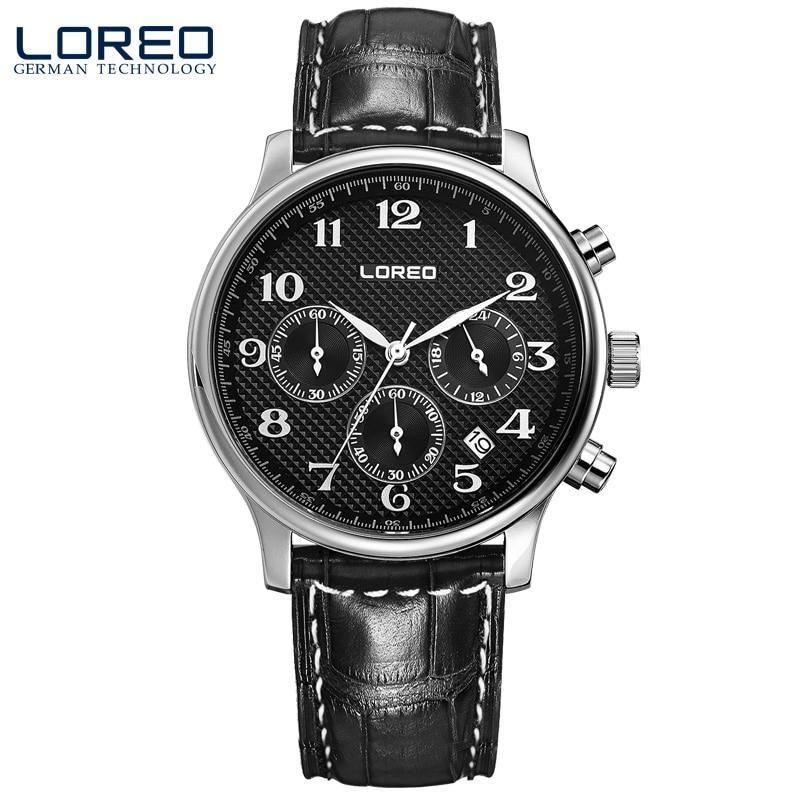 ФОТО LOREO quartz watch water resistant 5ATM black Leather belt Multifunction Calendar Chronograph