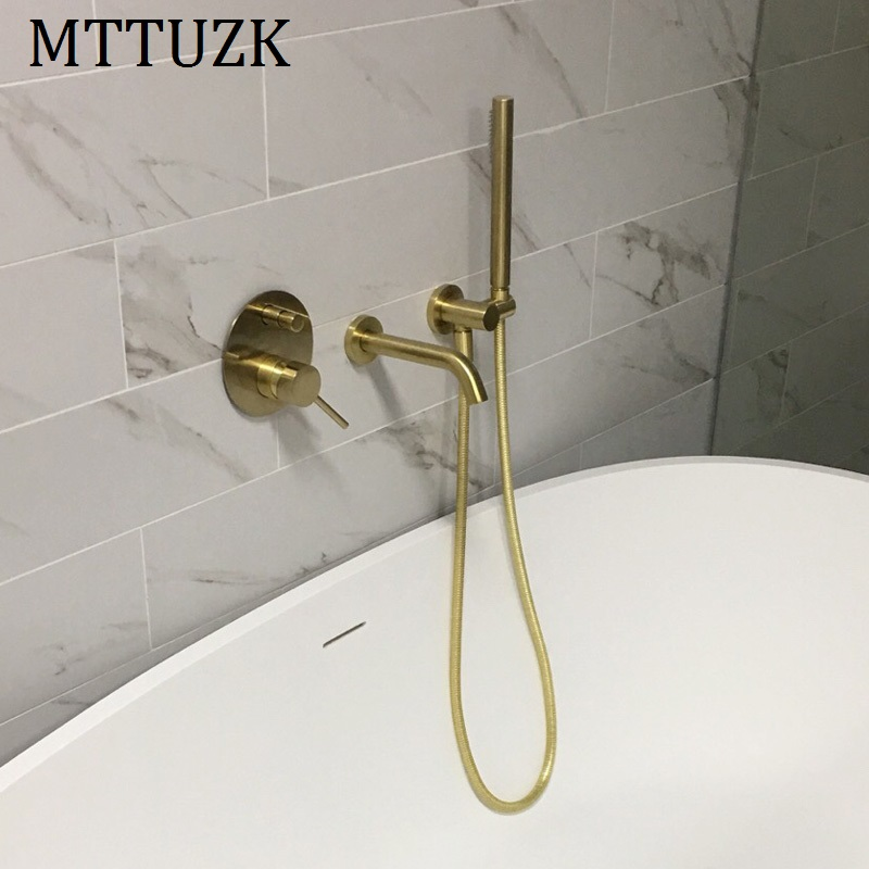 MTTUZK Brass Brushed gold Bathtub faucet With handsprays Hot and Cold Mixer Faucet Set Black Wall