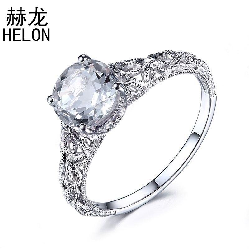 8mm Round White Topaz Ring 1.51ct White Topaz Fine Gemstone 925 Sterling Silver Vintage Art Deco Engagement Wedding Ring Women серьги art silver art silver ar004dwzmh30