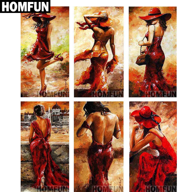 HOMFUN <font><b>Full</b></font> Square/<font><b>Round</b></font> <font><b>Drill</b></font> 5D DIY <font><b>Diamond</b></font> <font><b>Painting</b></font>