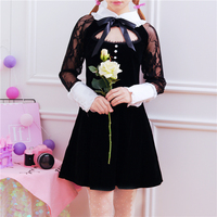 Spring&Autumn Gold velour Dress Lace Floral Embroidery Sexy Women Hollow out Bust Black Punk Lolita Full sleeve Slim Vestidos