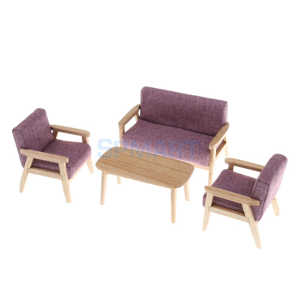 1/12 Scale Dollhouse Miniature Furniture Sofa Couch End Table Set 3 Colors for 12th Dolls House Living Room Accessories