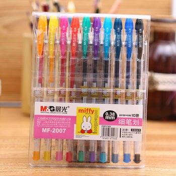 MF-2007 10 cores gel caneta de desenho não se desvanece escola presente das crianças papelaria escritório & diário marcador caneta