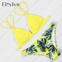 Floylyn New Arrival Bikins Sexy Brazilian Bikini Set Print Women Swimwear Plus Size Biquini Push Up
