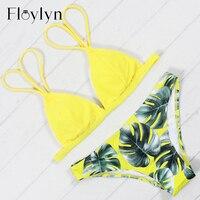 Floylyn New Arrival Bikins Sexy Brazilian Bikini Set Print Women Swimwear Plus Size Biquini Push Up