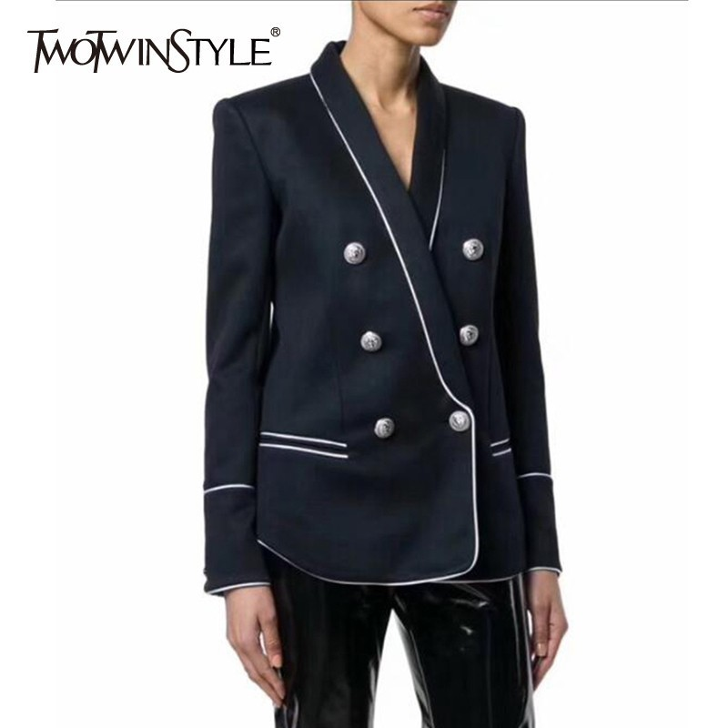 TWOTWINSTYLE Summer Blazer For Women Lapel Collar Long Sleeve Big Size Coat Female Clothing New Fashion 2019 Korean Tide
