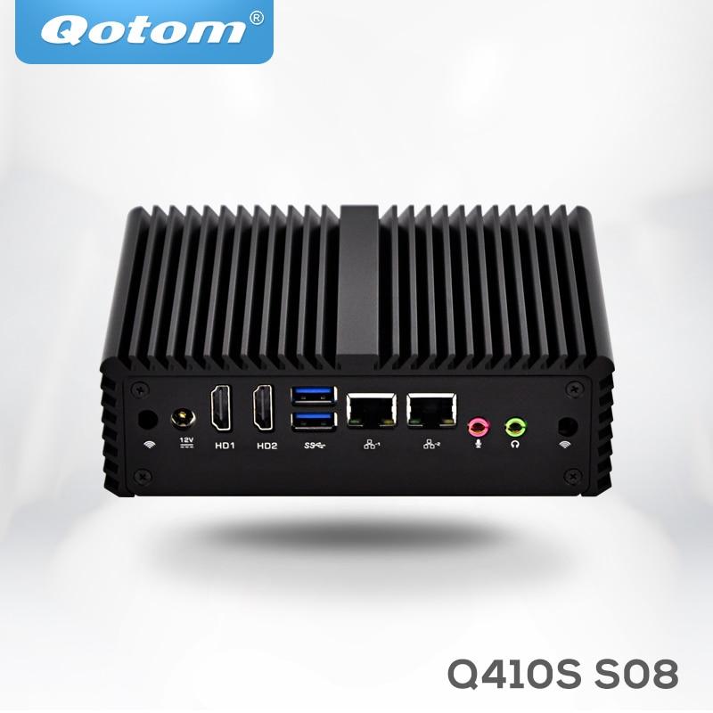 Qotom Dual Nics Micro PC Q410S With Celeron 3215U (2M Cache, 1.70 GHz, Broadwell), SIM Slot, 3G/4G Dual Display,X86 Fanless