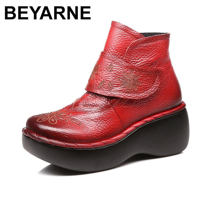 BEYARNE Women Autumn Winter Shoes Genuine Leather Boots Handmade Women Shoes Soft Bottom Ankle Boots With Platform High Heel huizumei new genuine leather women s boots autumn and winter shoes retro handmade round toe soft bottom rubber ankle ladies boot