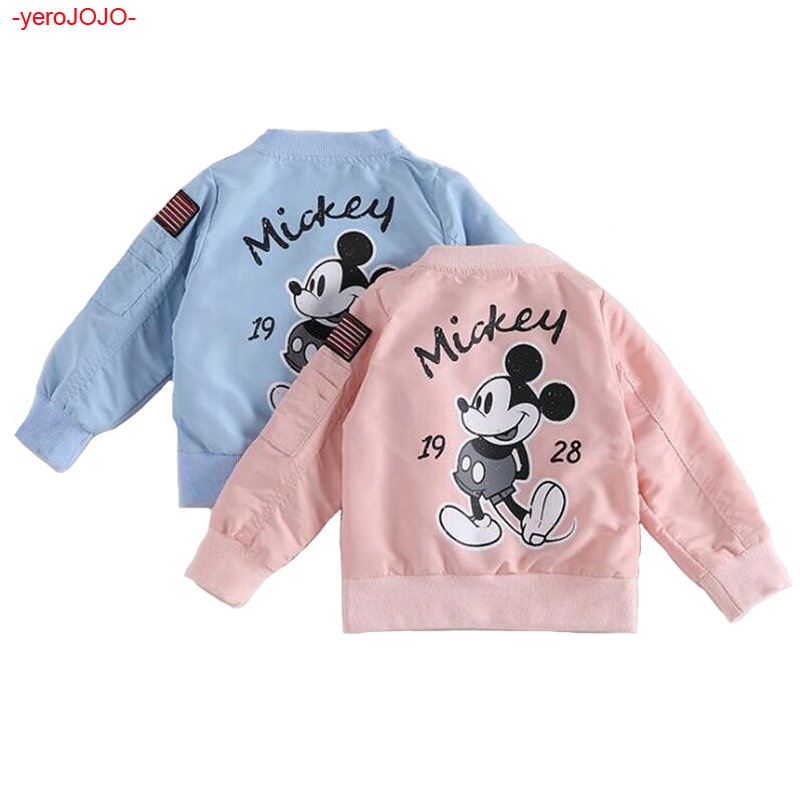 New Boy Mickey Jackets Coat Baby Girls Boys Coat Mickey Printed Toddler Kids Jacket Outwear Baseball Windproof Children Clothes