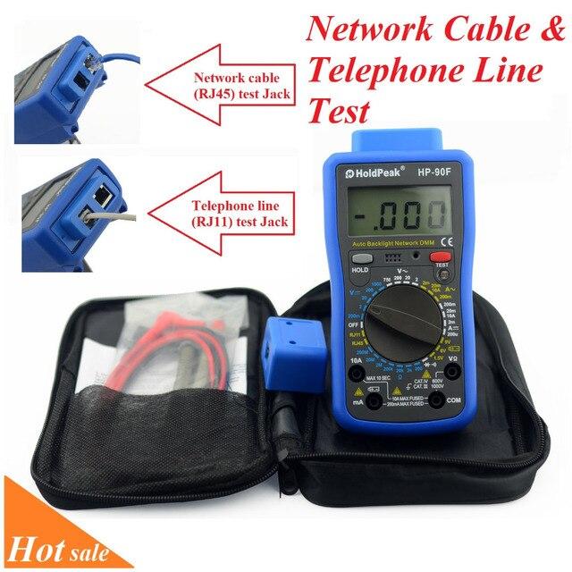 HoldPeak HP-90F Multimetro numérique HoldPeak HP-90F multimètre de réseau numérique avec ligne téléphonique et Test de câble réseau