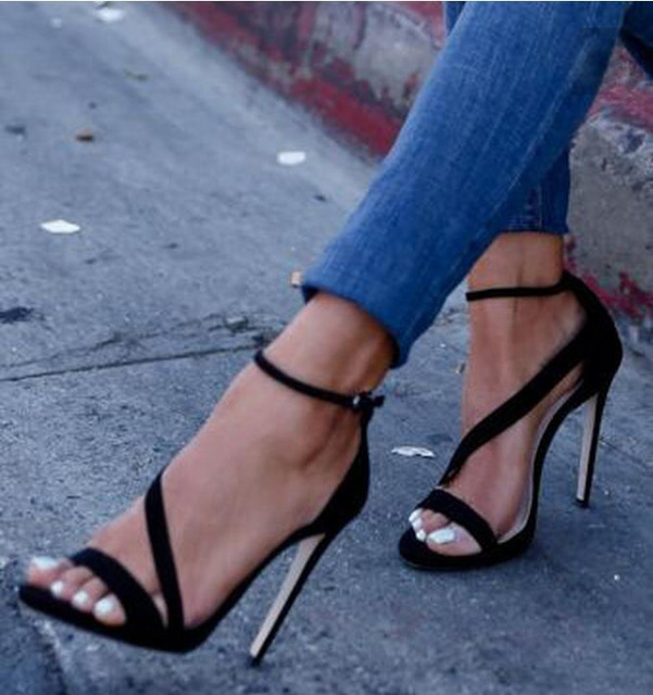 0f86116b0bdd Black suede ankle buckle high heel sandals open toe side strap stiletto  heels size 34 to 42 discount price