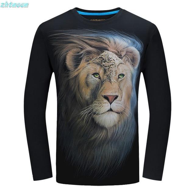 2017 Мода футболка дети мальчики хлопок 3D Лев футболки с длинным рукавом рубашка мужчины печатные мужчины Плюс Вершины Размер Тройник мальчиков рубашки подросток одежда
