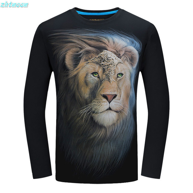 2017 Moda t-shirt crianças meninos algodão 3D Leão manga longa t camisa dos homens impressos homens Plus Size Tops T camisas meninos adolescente roupas