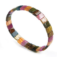 Genuine Natural Crystal Rectangle Loose Beads Colorful Tourmaline Stone Fashion Stretch Bracelet 9 7 3mm