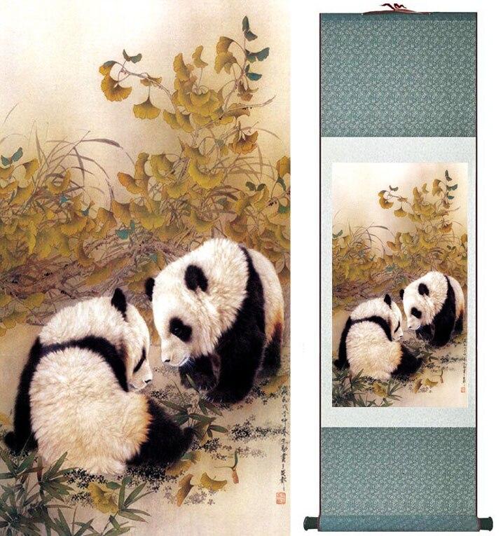 Panda Boyama Geleneksel Cince Sanat Boyama Ipek Kaydirma Panda