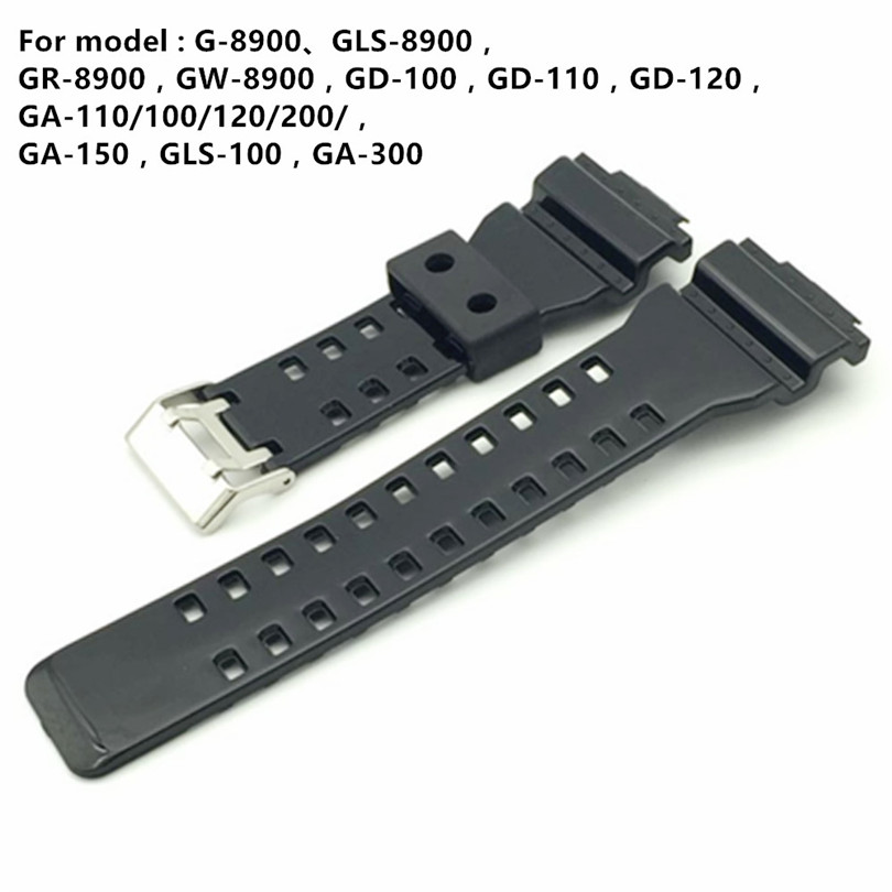 Brand 16mm Black Watch Strap For <font><b>DW</b></font>-5600 <font><b>DW</b></font>-<font><b>5700</b></font> G-8900 GD110 GA110 Watch Band Glossy Side Watchband +Tool image