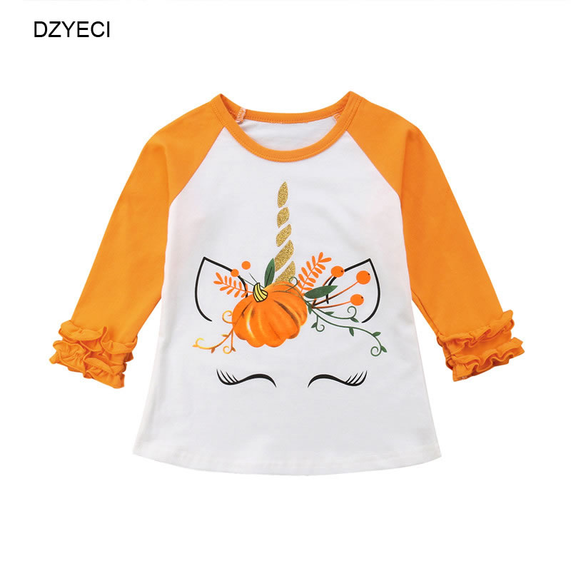 335337af DZYECI Halloween Costume For Kid Unicorn Pumpkin Raglan T Shirt Fall Baby  Girl Boutique Tee Children Cotton Floral Top Clothes