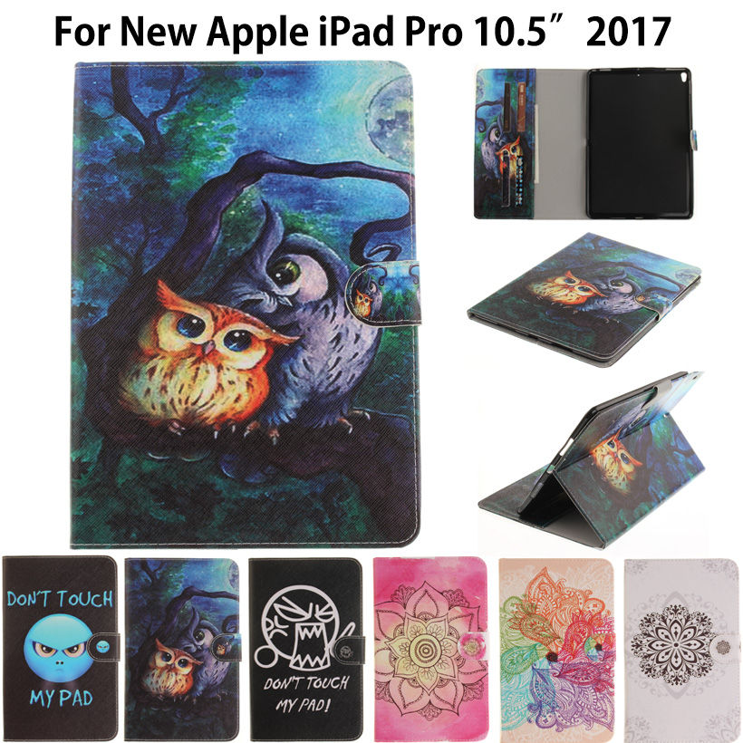 Tablet Case For Apple iPad Pro 10.5'' 2017 Case A1701 Smart Cover Stand Cartoon Cat panda Print Silicon+ PU Leather Shell Funda official original 1 1 case cover for apple ipad pro 12 9 2017 cases tpu smart clear cover for ipad pro ipad plus 12 9 2015 case