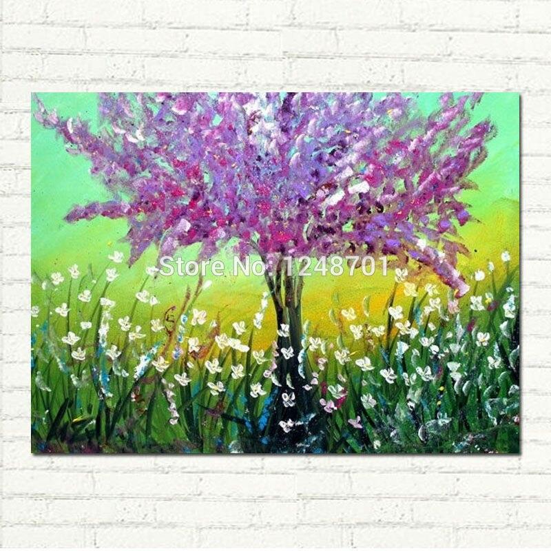Весна Сирень Современная фантазия дерево Пейзаж красочные на холсте маслом Ручная роспись книги по искусству