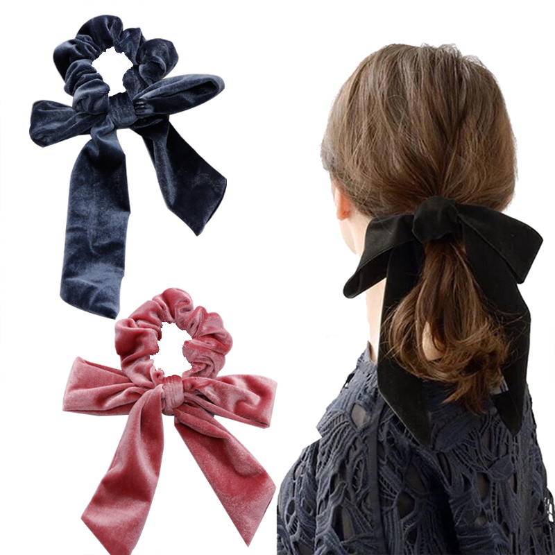 New Women Girls Coral Fleece Bow Ribbon Elastic Hair Bands Ponytail Holder Scrunchie   Headwear   Headbands Fashion Hair Accessories