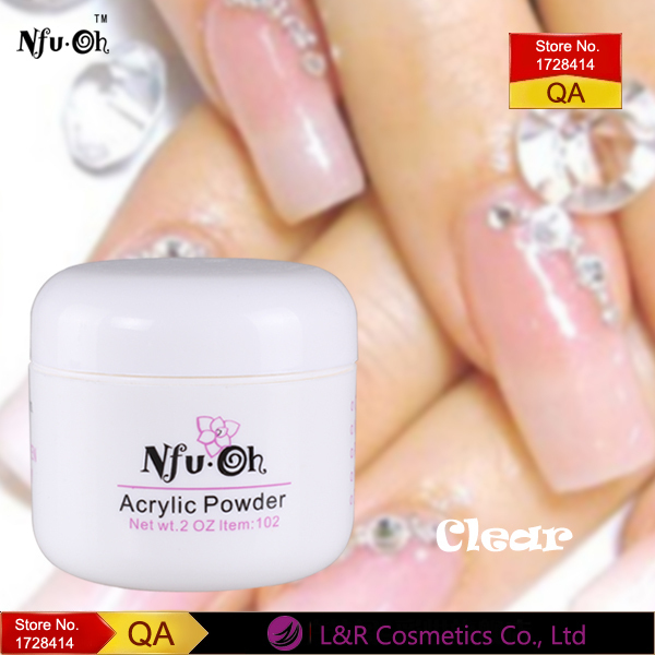 NFUOH Clear Acrylic Nails Extension Design Crystal Powder Nail Art Tips Builder Polymeric Powder ...