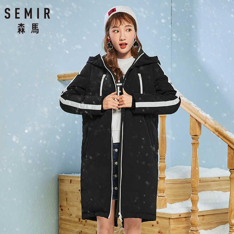 Semir женский пуховик длинный участок 2018 зимняя пара куртка Корейская версия теплая Студенческая свободная Длинная Верхняя одежда для женщин