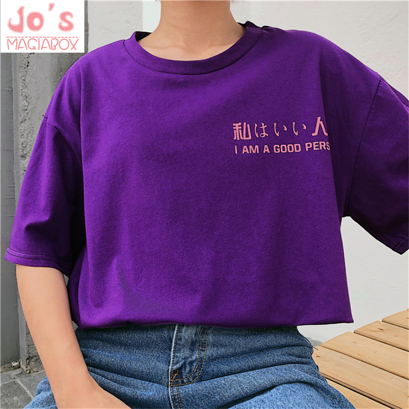 Harajuku T-shirt Fashion New Style Letter Printed Tops Oversize Women Casual Tee Loose Kaw