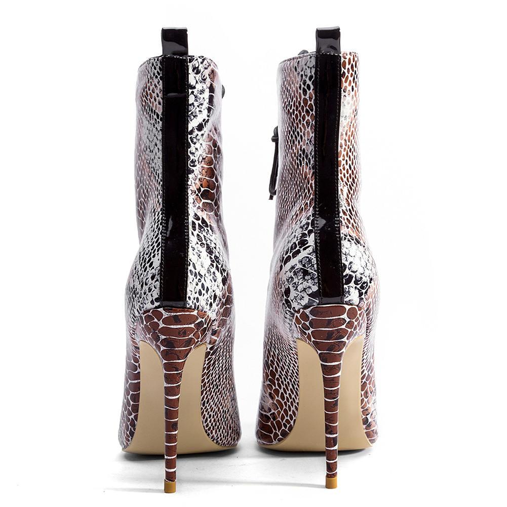 Print Alto 33 Verano De Doratasia Tacón Calidad Peep Mujer Snake Talla Zapatos 43 La Botas 2018 Marca Sexy Grande Mejor Marrón Toe w8q68BPT